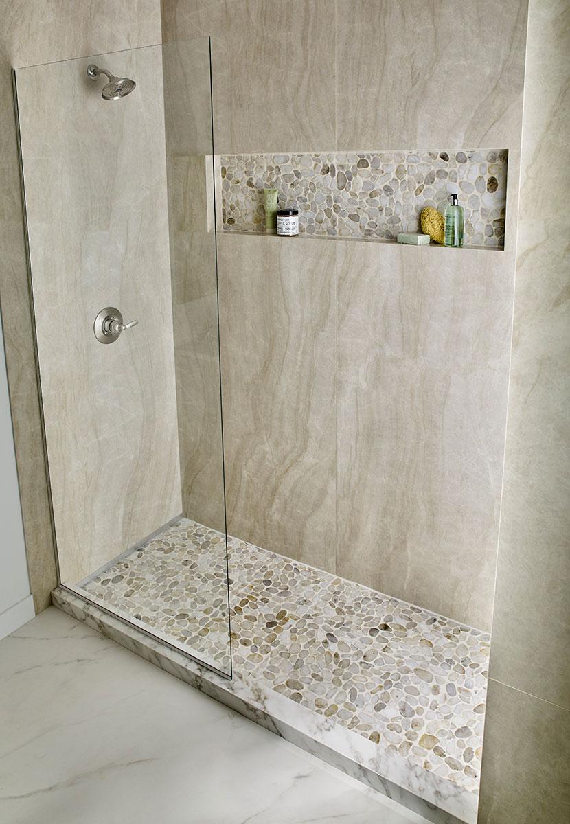Dorado Marble Pebble Backsplash Mosaic Hatches Wall Tile