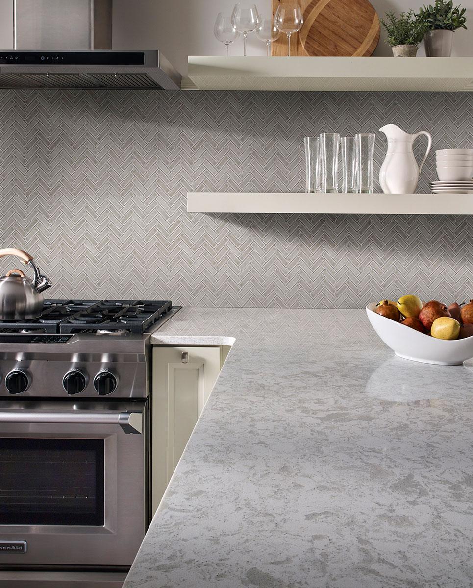 - Dove Gray Herringbone Pattern 8mm Backsplash Tile Subway Tile