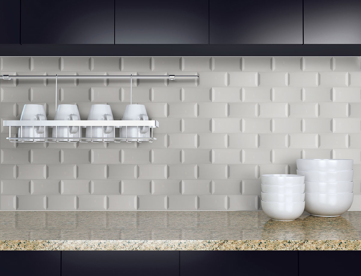 Gray Glossy Subway Tile Beveled 3x6 Backsplash Tile Wall