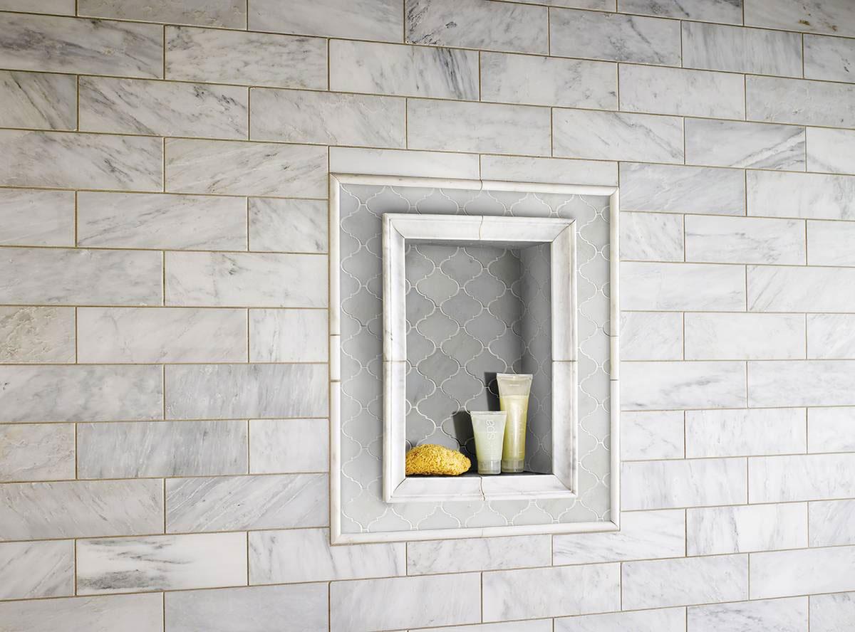 Greecian White Arabesque Pattern Polished Marble Backsplash Tile