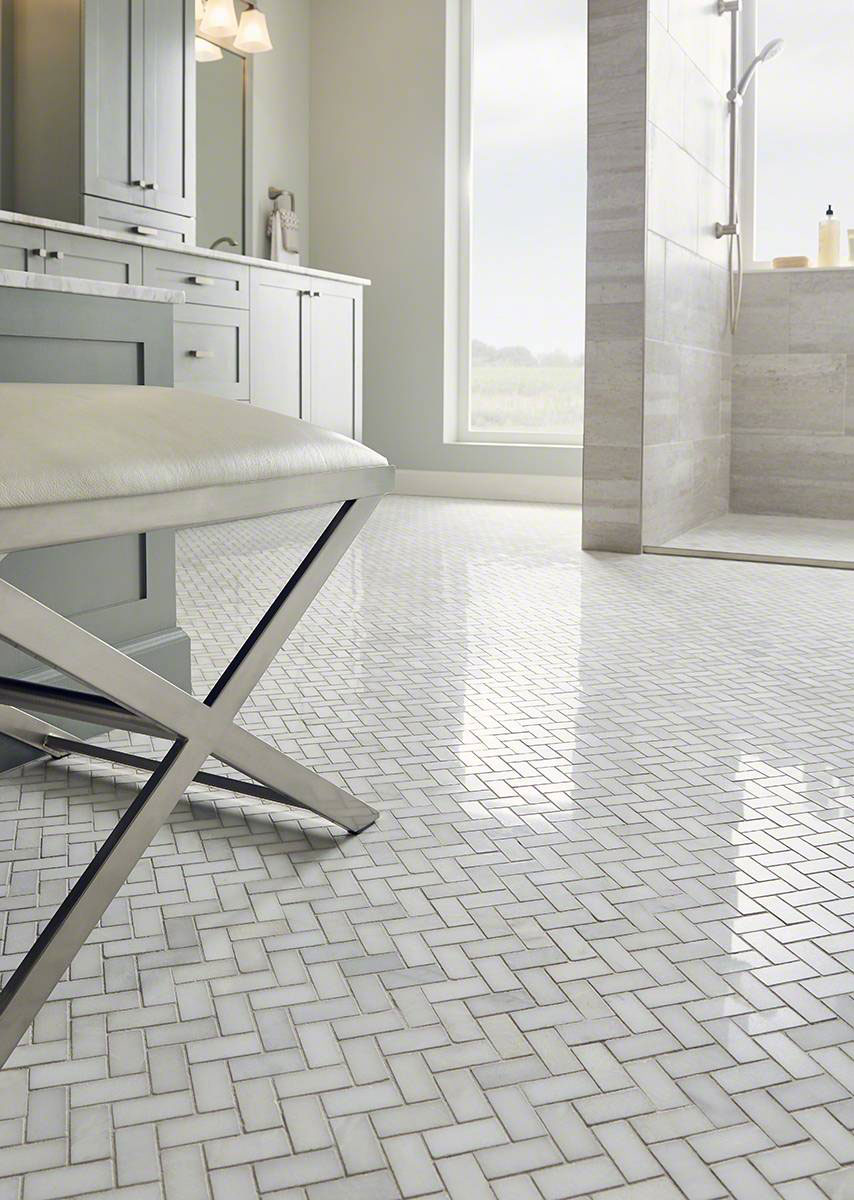 Greecian White Herringbone Pattern Marble Backsplash Tile