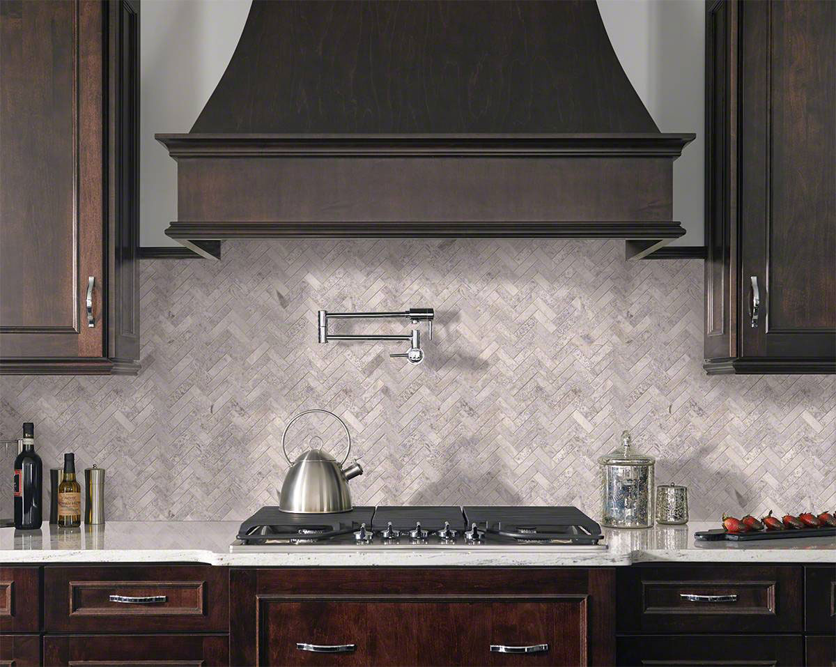 - Silver Travertine Herringbone Pattern Honed Backsplash