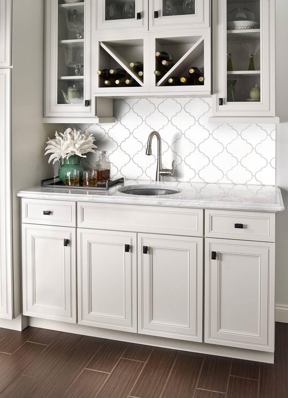 - Whisper White Arabesque Tile Backsplash Moroccan Glass Tile