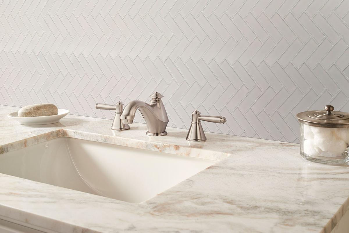 White Glossy Herringbone Mosaic