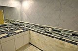 Blue Bahia Granite_Arabescato Cararra 3 4x3 4x12 Honed Pencil Molding B
