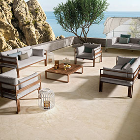 Living Style Cream Arterra Pavers Room Scene