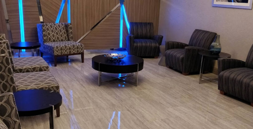 Hospitality flooring in hotel Lobby Waiting Room Pietra Venata White  Room Scene