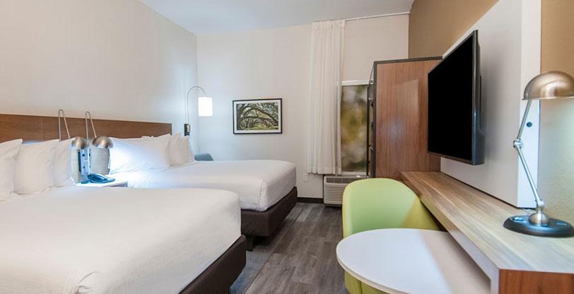 White-hotel-countertops-and-gray-tile-flooring-Room-Scene