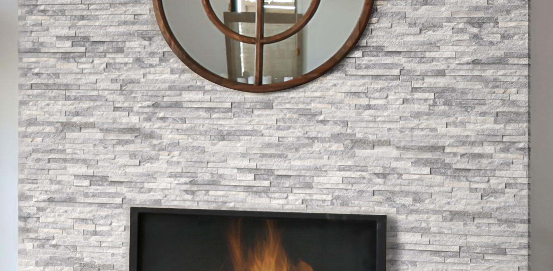 Living Room Scene Hardscape Stacked Stone Alaska Gray