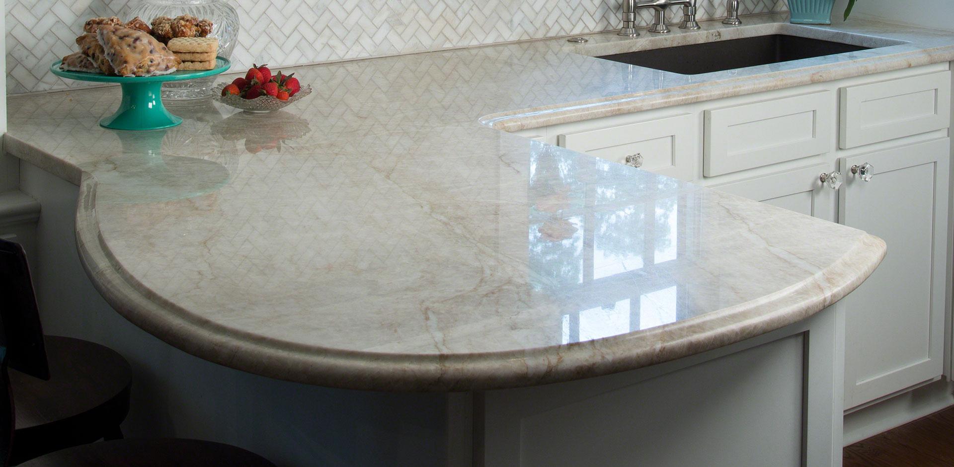 Kitchen Room Scene Arabescato Carrara Herringbone Tile