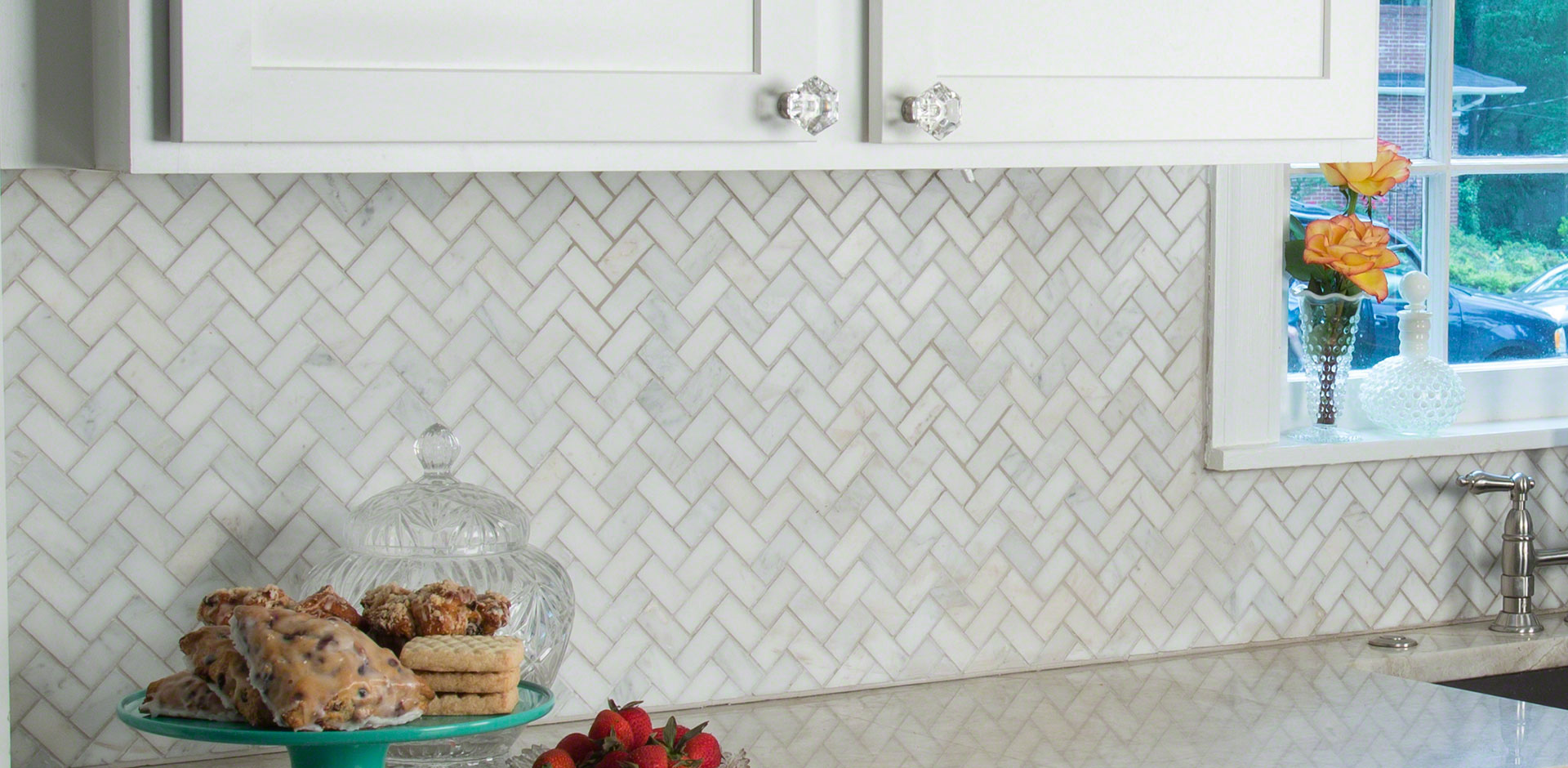 Kitchen Room Scene Arabescato Carrara Herringbone Tile