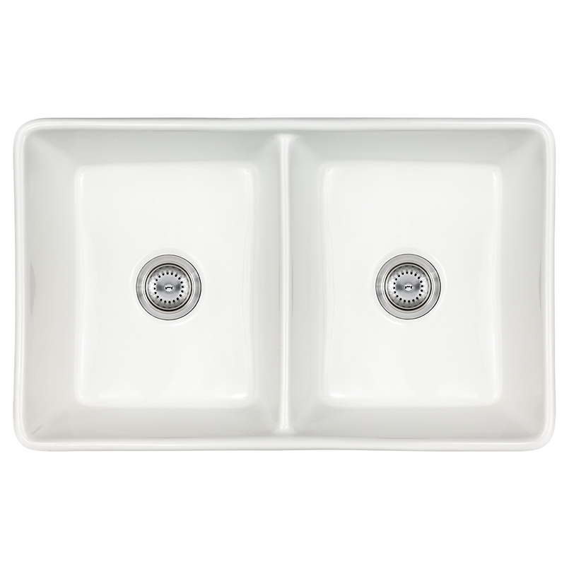 Fireclay Farmhouse White Double Bowl Kitchen Sinks