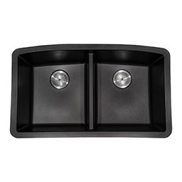 Black Quartz Double Bowl 50/50-3 Kitchen Sinks