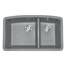 Grey Quartz Double Bowl 60/40-3 Kitchen Sinks