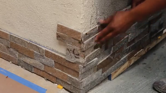 Stacked Stone Ledger Panel Installation
